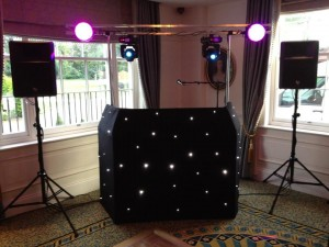 Our new starcloth DJ booth set-up